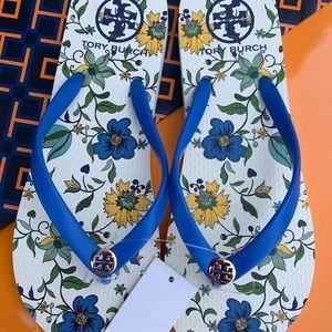 NWT Tory Burch Flip Flop Thong Flat Sandals Floral